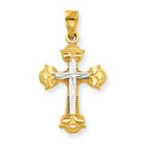 Diamond-Cut Cross Pendant 10K Gold & Rhodium 10C1123