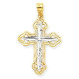 Diamond-Cut Cross Pendant 10K Gold & Rhodium 10C1128