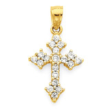 Passion Cross Pendant 10k Gold Synthetic Diamond 10C1136