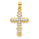 Cross Pendant 10k Gold Synthetic Diamond 10C1137