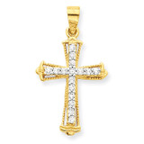 Cross Pendant 10k Gold Synthetic Diamond 10C1141