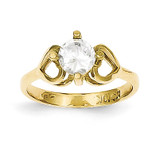 Polished Baby Ring 10k Gold Synthetic Diamond 10C1144