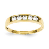 Polished Child's Ring 10k Gold Synthetic Diamond 10C1146