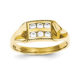 Polished Child's Ring 10k Gold Synthetic Diamond 10C1147
