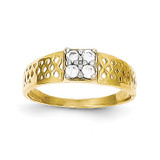 Baby Ring 10k Gold Synthetic Diamond 10C1148