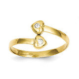Toe Ring 10k Gold Synthetic Diamond 10C1161