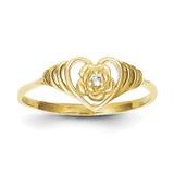 Heart Ring 10k Gold Synthetic Diamond 10C1181