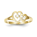 10k Yellow Gold Double Heart Synthetic Diamond Ring 10C1184
