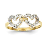 Double Heart Synthetic Diamond Ring 10k Gold 10C1194