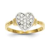Synthetic Diamond Heart Ring 10K Gold & Rhodium 10C1195