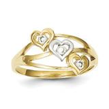 Triple Heart Synthetic Diamond Ring 10K Gold & Rhodium 10C1198