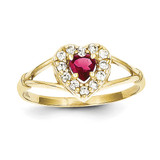 Red & White Synthetic Diamond Heart Ring 10k Gold 10C1201