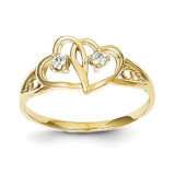 Double Heart Synthetic Diamond Ring 10k Gold 10C1205