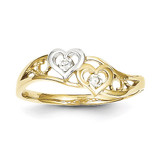 Double Heart Synthetic Diamond Ring 10K Gold & Rhodium 10C1207