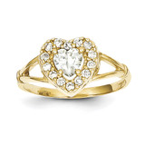 Heart Ring 10k Gold Synthetic Diamond 10C1209