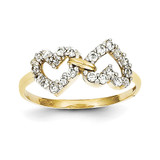 Double Heart Synthetic Diamond Ring 10k Gold 10C1210