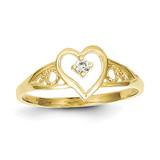 Heart Synthetic Diamond Ring 10k Gold 10C1213