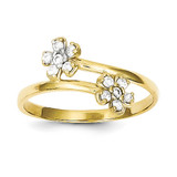 Double Flower Synthetic Diamond Ring 10k Gold 10C1215