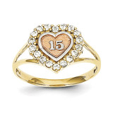 Sweet 15 Heart Ring 10k Two-Tone Gold 10C1220