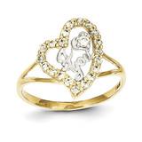 I Love You Synthetic Diamond Heart Ring 10K Gold & Rhodium 10C1223