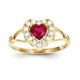 Red & White Synthetic Diamond Heart Ring 10k Gold 10C1227