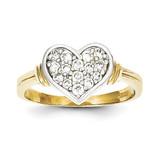 Synthetic Diamond Heart Ring 10K Gold & Rhodium 10C1230