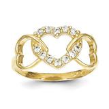 Heart Ring 10k Gold Synthetic Diamond 10C1231