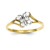 Synthetic Diamond Butterfly Ring 10K Gold & Rhodium 10C1232