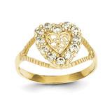 I Love You Heart Ring 10k Gold Synthetic Diamond 10C1237