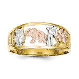 Rhodium Good Luck Ring 10k Two-Tone Gold 10C1255