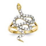Synthetic Diamond Snake Ring 10K Gold & Rhodium 10C1275