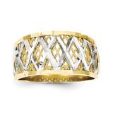Diamond-Cut Filigree Ring 10K Gold & Rhodium 10C1278