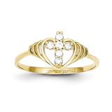 Cross Ring 10k Gold Synthetic Diamond 10C1281