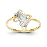 Praying Hands Synthetic Diamond with Cross Ring 10K Gold & Rhodium 10C1283