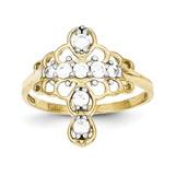 Cross Ring 10k Gold Synthetic Diamond 10C1284