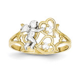 Angel with Hearts Ring 10k Gold Synthetic Diamond 10C1285