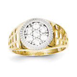 Men's Synthetic Diamond Cluster Ring 10K Gold & Rhodium 10C1297
