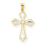 Diamond-Cut Cross Pendant 10K Gold & Rhodium 10C1314