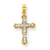 Cross Pendant 10k Gold Synthetic Diamond 10C1319