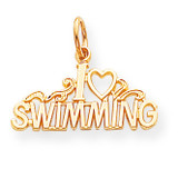 Swimming Charm 10k Gold 10C156