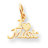Talking - I Love Music Charm 10k Gold 10C194