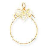 Love in Heart Charm Holder 10k Gold 10C208