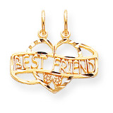 BEST FRIEND BREAK APART CHARM 10k Gold 10C222