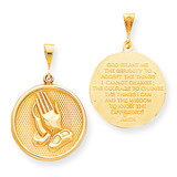 Praying Hands Reversible with Serenity Prayer Pendant 10k Gold 10C327