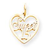 Sweet 15 in Heart Charm 10k Gold 10C338