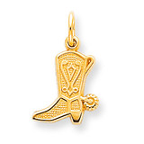 Solid Polished Cowboy Boot Charm 10k Gold 10C374