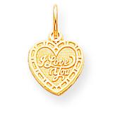 I LOVE YOU HEART CHARM 10k Gold 10C474