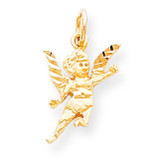 Solid Satin Angel Charm 10k Gold 10C515