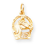 Solid Diamond-cut Horsehead in Horseshoe Charm 10k Gold 10C572