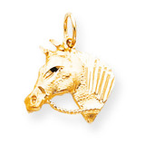 Solid Satin Horsehead with Reins Charm 10k Gold 10C573